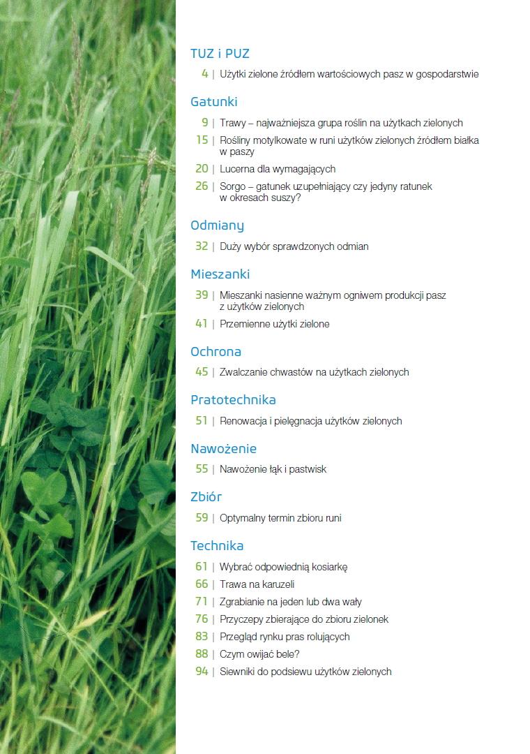 Użytki zielone spis treści