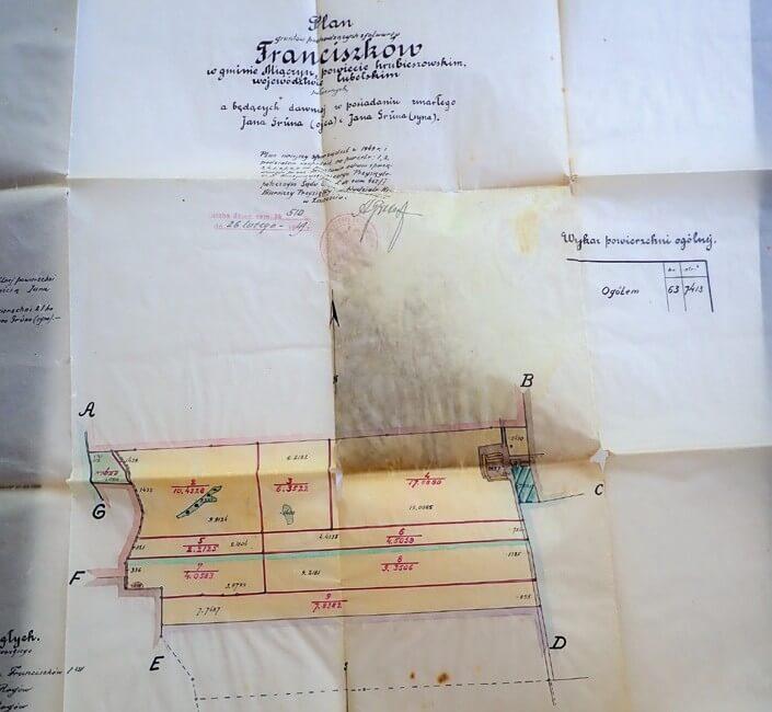 Mapa gospodarstwa z 1949 roku