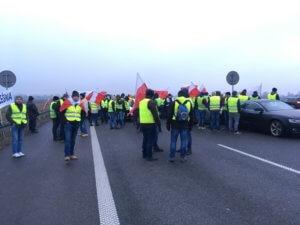 Protest zorganizowany przez rolników na A2